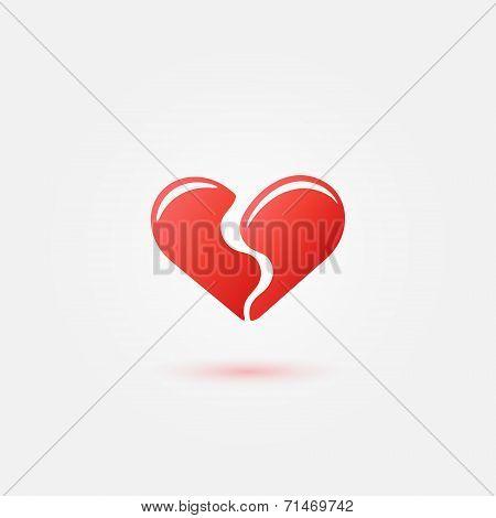 Red broken heart icon