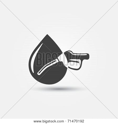 Abstract fuel gun (pump) vector and dot icon