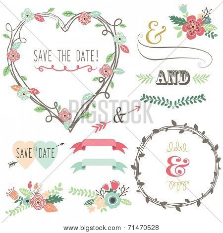Vintage Wedding Flora Heart Shape-