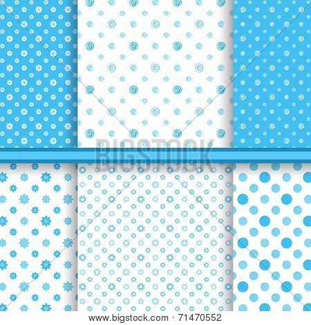Set of bright blue childish different vector seamless patterns