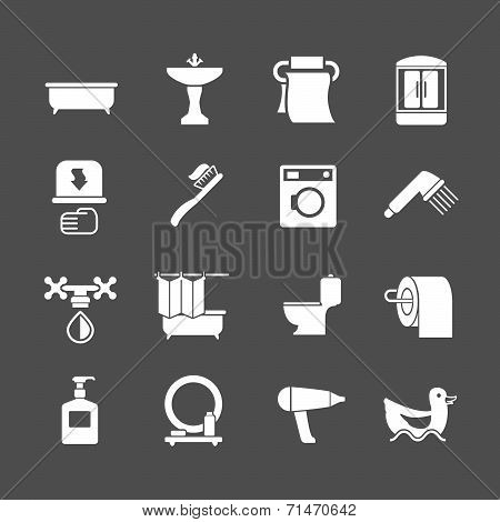 Set Icons Of Bathroom Items