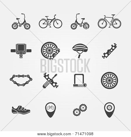 Bicycle icon vector set