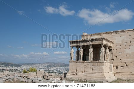 Erechtheion Temple On Acropolis Hill, Athens Greece.