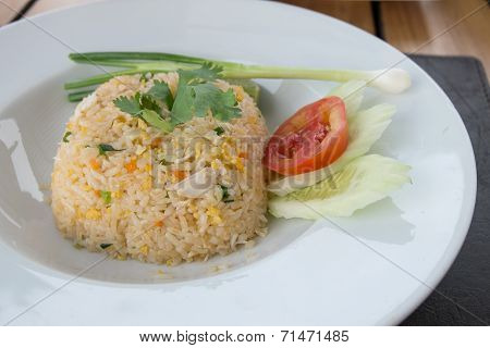 Sideview Of Fried Rice Mixed With Crab Meat And Egg