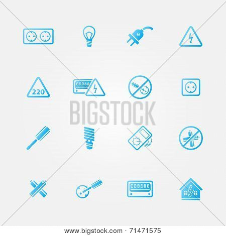 Electricity vector blue icons