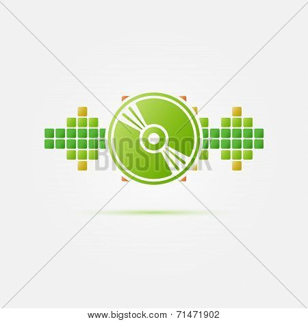 Soundwave vector icon - green CD in bright sound wave