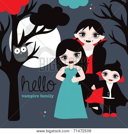 Hello vampire family full moon and spooky tree halloween postcard cover design illustration in vector