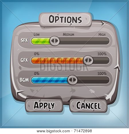 Cartoon Stone Control Panel For Ui Game