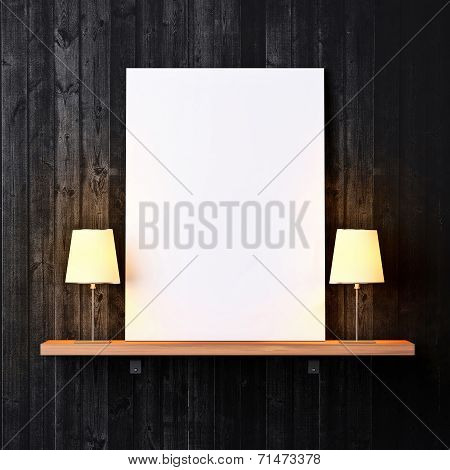 Shelf With White Poster And Lamps