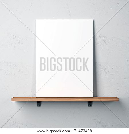 White Concrete Wall With Shelf And Blank Poster