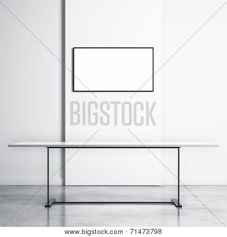 White Table And White Tv Screen