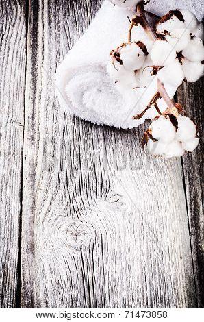 Branch Of Ripe Cotton Bolls On Bath Towel