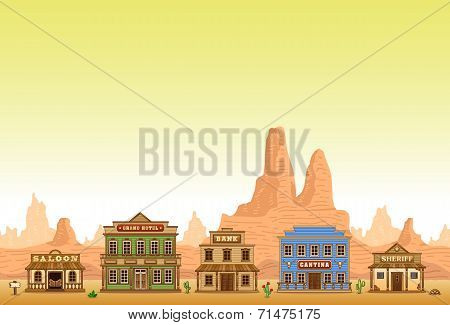 Wild West town seamless background
