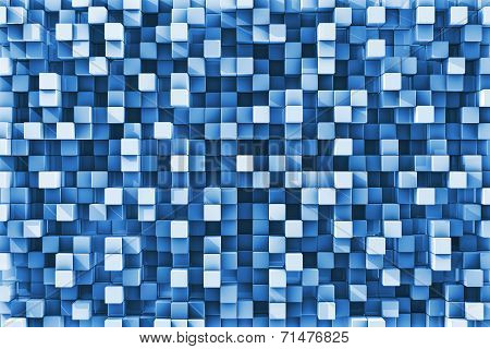 Blue Checkered Reflective Cube Background