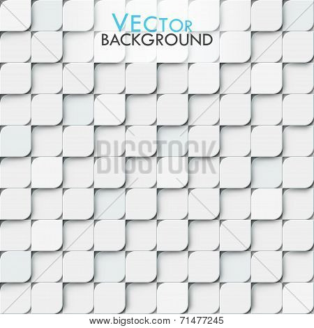 White modern vector geomitric background with little squares with rounded corners