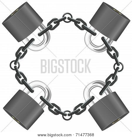 Vector Steel Chain With Locks
