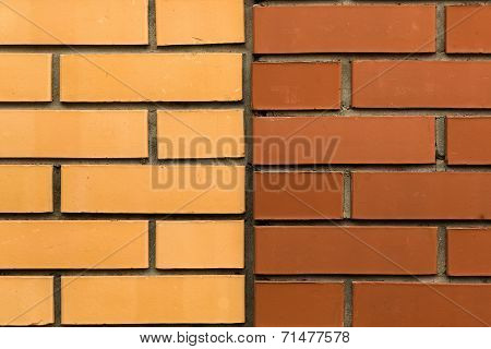 Wall Of Yellow And Red Bricks