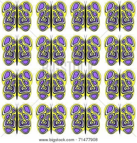 Yellow-Purple-White Med Butterflies