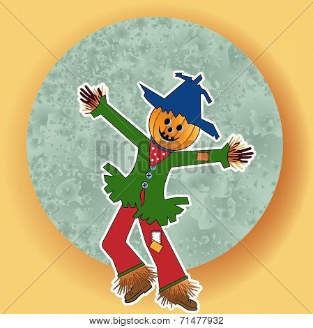 Scarecrow with green blue moon - pumpkin head