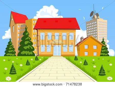Vector Cartoon Modern School Building