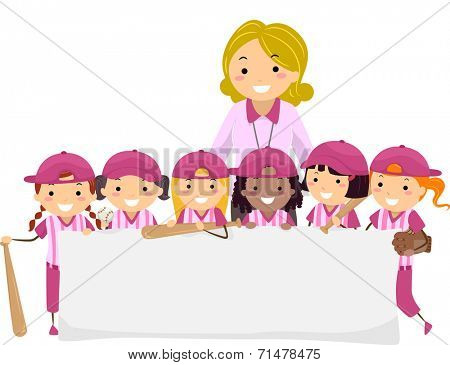 Illustration Featuring a Group of Young Female Baseball Players Holding a Blank Banner