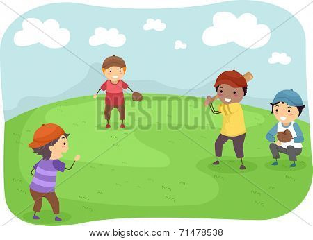 Illustration Featuring a Group of Boys Playing Baseball