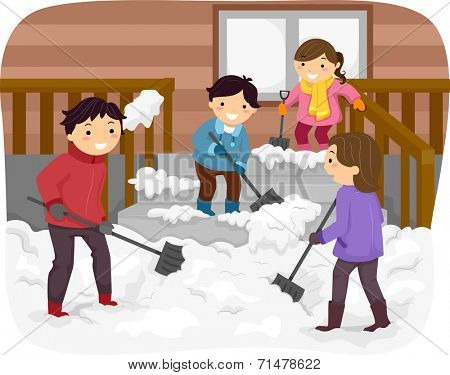 Illustration Featuring a Family Shoveling Snow