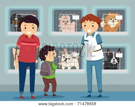 Illustration of a Family Visiting a Dog Shelter