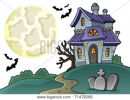 Haunted house theme image 1 - eps10 vector illustration.