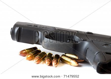 Black Gun Isolated A White Background.