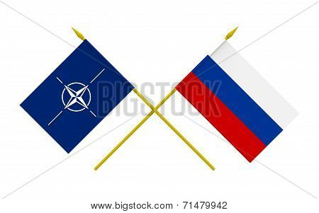 Flags, Nato And Russia