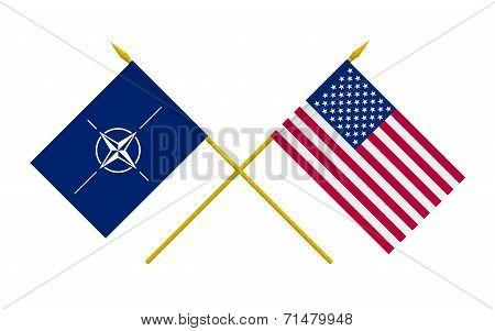 Flags, Nato And Usa