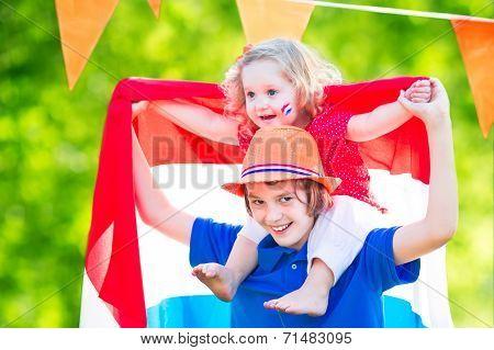 Two Kids Dutch Celebration National Holiday