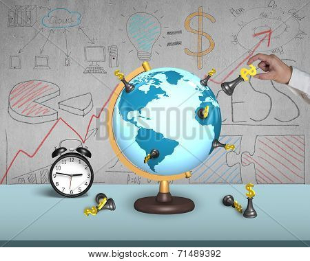 Hand Holding Dollar Chess On Globe With Clock