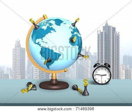 Dollar Chess Stand On Globe With Clock