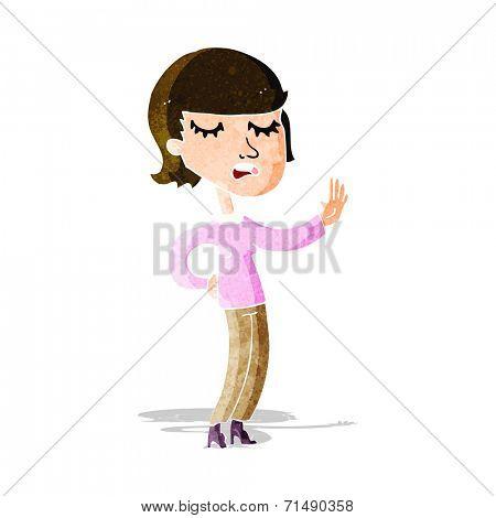 cartoon woman ignoring