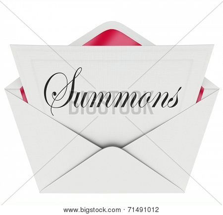 Summons word on a note in an envelope requiring you to appear in court before a judge for a case or lawsuit