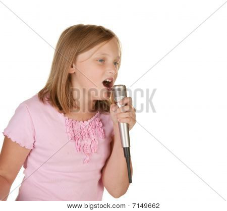 Young Girl Singing Karaoke On White