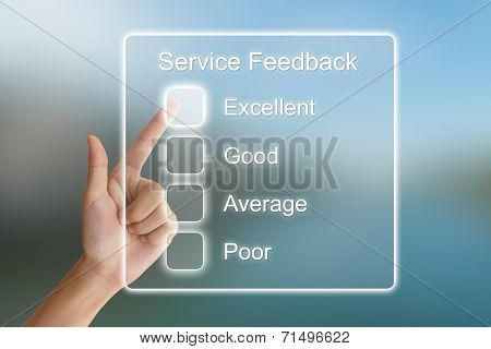 Hand Pushing Service Feedback On Virtual Screen