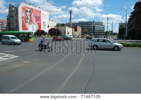 Junction On Garbary And Estkowskiego Street In Poznan, Poland