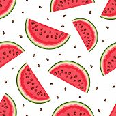 picture of watermelon slices  - Vector seamless pattern with watermelon slices on a white background - JPG