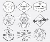 picture of honey bee hive  - Honey and bees vector badges and labels for any use - JPG