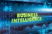 picture of benchmarking  - Business intelligence technology concept with green text - JPG