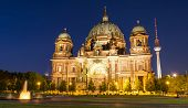 stock photo of dom  - The Berliner Dom at night with the TV Tower in the back - JPG