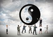 foto of yin  - Group of businesspeople and yin yang sign - JPG