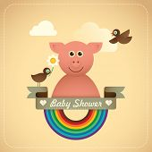 picture of baby pig  - Baby shower illustration with comic pig - JPG