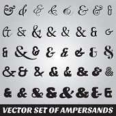 image of ampersand  - vector set of ampersands from different fonts - JPG