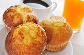 stock photo of continental food  - a continental breakfast formed by muffins - JPG