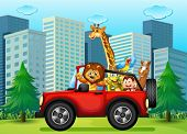 image of kinetic  - Illustration of a jeepney with animals - JPG