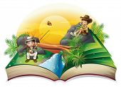 image of bookworm  - Illustration of a book about two explorers on a white background - JPG